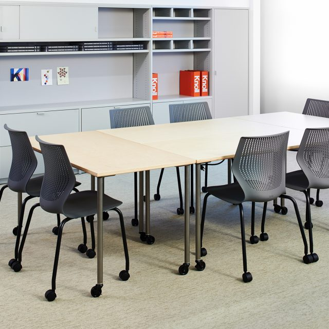 Knoll Multigeneration stacking chairs with casters