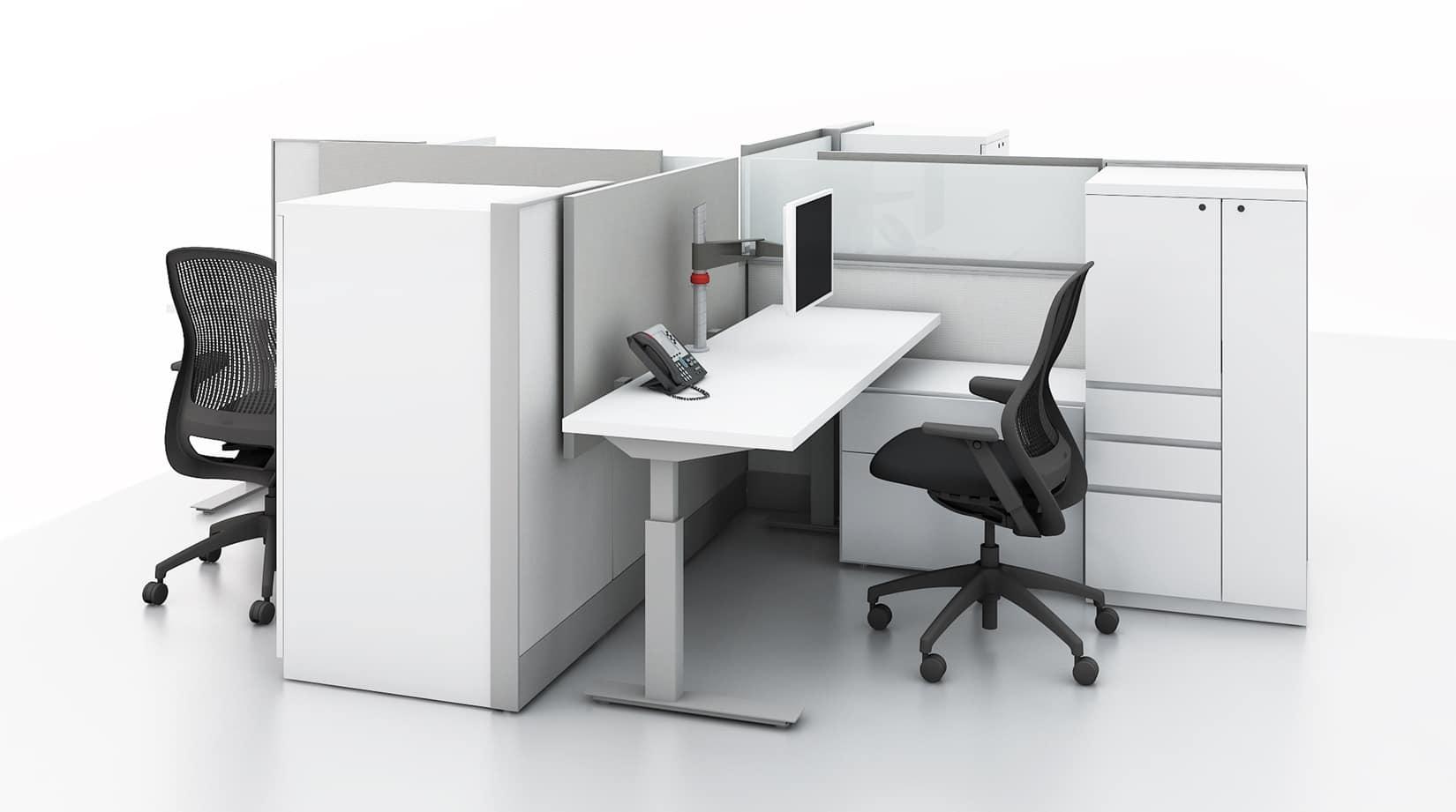 Powered height adjustable table