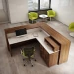 wood reception desk commercial office design